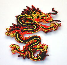 BLACK & GOLD CHINESE DRAGON Embroidered Iron Sew On Cloth Patch Badge  APPLIQUE