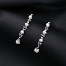 Boucles d`Oreilles Clous Argentré Art Deco Baton Fin Perle Cristal Class BB 13