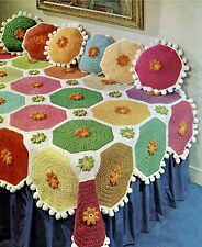 Vintage crochet pattern-how pour faire un jet afghan coloré & coussins assortis