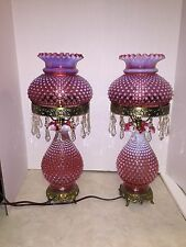 Fenton Cranberry Hobnail Lamp (2 Available) Two Of Two