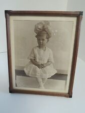 ANTIQUE INLAID FRAME WITH CHILD LITTLE DARLING GIRL HIGH TOP VICTORIAN BOOTS