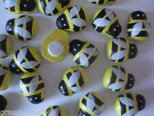 50 SELF ADHESIVE YELLOW WOODEN BEES - FREE POSTAGE - 12.5mm x 10mm x 5mm