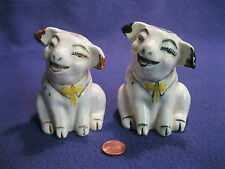Vintage White Good Cheer Bow Tie Pig Swine Salt and Pepper Shakers Ceramic    28