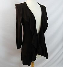 ETCETERA ECCOCI V-NECK RUFFLED DARK BROWN LIGHTWT CARDIGAN SWEATER size S NEW
