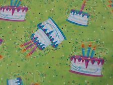 Party On ! Victoria Hutto Quilting Treasure BTY Happy Birthday Cake Lime Green