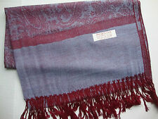 NEW Pashmina Winter Scarf Scarves Silk Burgundy Blue Floral Paisley Shawl Wrap