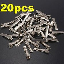 DIY Flat Metal Single Prong Alligator Hair Clips Barrette for Bows 20PC ♫