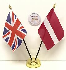 United Kingdom & Latvia Double Friendship Table Flags & Badge Set