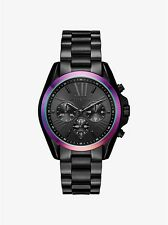 MICHAEL KORS BLACK ION IRIDESCENT ACCENT BLACK DIAL CHRONO DATE WATCH MK6444