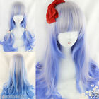 HOT Anime Blonde Blue Silver Color Wavy Curly Hair Girl Lolita Cosplay Party Wig