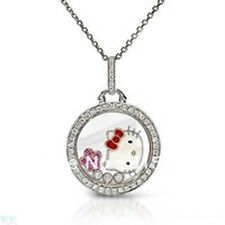 New Hello  Kitty  Pink Flower Circle Crystal  Necklace