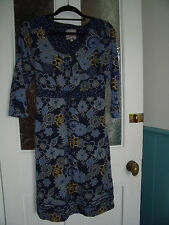 Mantaray Blue Floral Boho dress size 12 ex condition stretch cotton jersey