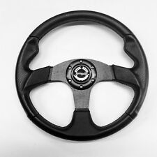 "LAND ROVER DEFENDER 14"" BLACK VINYL/SILVER SPOKE STEERING WHEEL & 48 SPLINE BOSS"