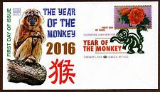 2016 YEAR OF THE MONKEY ~ GLEN CACHET - DCP CANCEL - FIRST DAY COVER
