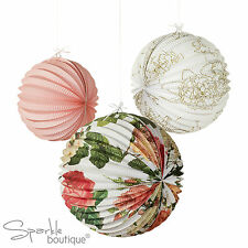 FLORAL LANTERNS-Paper Hanging Decoration-Vintage Wedding/Party-BLOSSOM & BROGUES