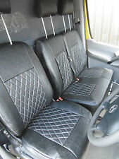 MERCEDES SPRINTER VAN MWB 2014 SEAT COVERS CROSS STITCH BLACK - FULL LEATHERETTE