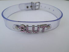 "clear pvc slut collar with pink diamonta letters 15-18""  20mm wide"
