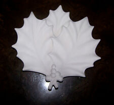 Ceramic Bisque Christmas Triple Holly Leaf Plate / Dish   Ready to Paint U Paint