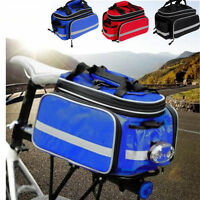 3 Colors Bike Bicycle Rear Seat Pannier Rack Expandable Travel Bag w/ Raincover