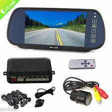 "7"" LCD Mirror Monitor+Black 4 Sensors Car Parking Sensor Reverse Safe+Backup CAM"