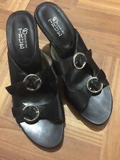 True Meaning Black Fine Leather Sandals Heels Size 7M