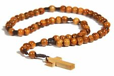 Olivewood Brown Rope Twine Rosary Cross Olive Wood Bethlehem FREE SHIP