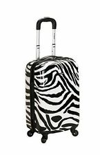 Rockland Luggage 20 In Carry on Hardcase Expandable Zebra Print Suitcase TSA