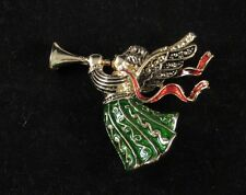 Christmas pin brooch Hearalding Angel red green gold color lapel scarf accent