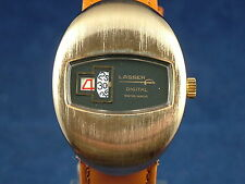 Vintage Lasser Gents Jump Hour Swiss Watch Circa 1970s New Old Stock