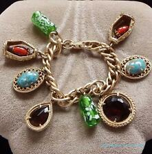 Vintage Murano Art Glass Gold Tone Retro Charm Bracelet