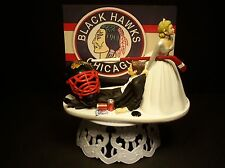 Hockey Team CHICAGO BLACK HAWKS Bride and Groom Wedding CAKE TOPPER Funny Sports