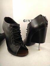 NIB Givenchy Black Corset Leather Lace Up Screw Wedge Ankle Heel Bootie 38 $1625