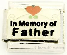 In Memory Of My Father 9mm Italian Charm Red Heart Scrolls Stainless Link Dad