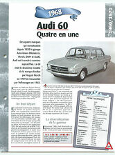 Audi 60 1968 GERMANY DEUTSCHLAND ALLEMAGNE Car Auto FICHE FRANCE