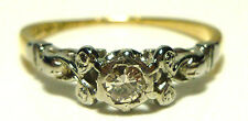 ANTIQUE ENGLISH 18K YELLOW GOLD PLATINUM DIAMOND NOUVEAU WEDDING RING BAND