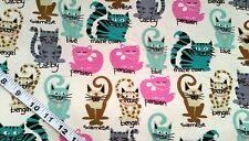 Cat Flannel fabric kitten Siamese word cotton quilt quilters sewing material BTY
