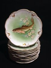11 Ant.Limoges France Fish/Cherry Blossom Plates Signed Dubois & Luca