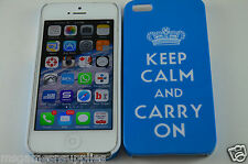 Blue Keep Calm and Carry On KCCO Hard Plastic Full Back Case for iPhone 5 5S