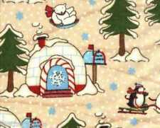 SSI ~ POLAR PALS - POLAR BEARS PENGUINS IGLOOS ~ 100% Cotton Flannel Fabric BTY