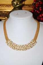 1980'S BOLD LARGE CHUNKY RUNWAY GOLD TONED METAL NECKLACE FAUX PEARLS RHINESTONE