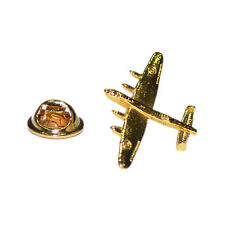 Lancaster Bomber Golden LAPEL PIN Pilot Veteran Hat Cap Badge Birthday Present