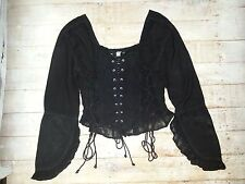 BLACK GOTHIC CORSET 80s TOP 12 14 16 LACE STEAMPUNK PIRATE WENCH LONGSLEEVED
