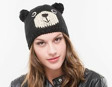 BRAND NEW LADIES BLACK AND WHITE WOOL KNITTED WINTER BEAR CLOCHE STYLE HAT