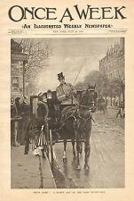Paris France, Street Scene, Horse Drawn Coach, Vintage 1890 Antique Art Print