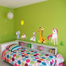 Jungle Animals Horse Elephant giraffe Kids Baby Nursery Wall Stickers Home Decor