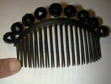 Antique Victorian Gutta Percha Black Jet Glass Bead Hair Comb Large