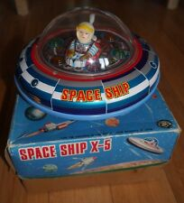 VINTAGE UFO X-5 TIN PLATE SPACE SHIP TOY RARE 1960's MASUDAYA JAPAN BOXED RETRO