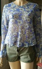 NEW LOOK  Blue Floral Print Long Sleeve Summer Party Top  Size 8 BNWT