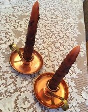 Vintage Arts & Crafts STYLE Rustic Coppercraft Guild Candle Holders