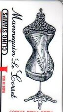 New CLING  Deep Red Rubber Stamp Corset dress Form French script Free USA ship